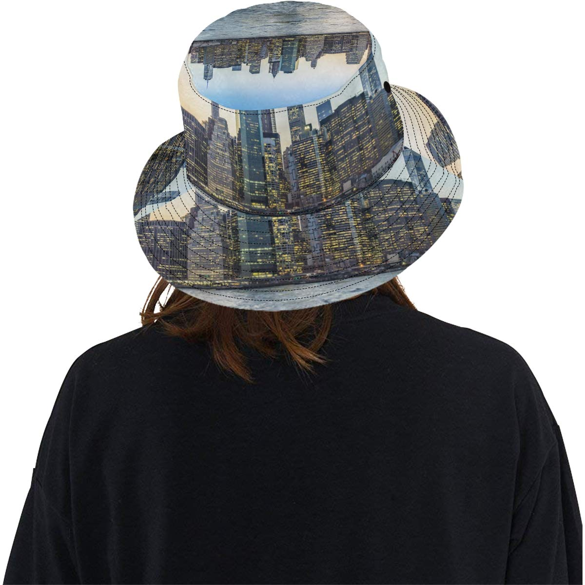 Beautiful City Skyline New Summer Unisex Cotton Fashion Fishing Sun Bucket Hats for Kid Teens Women and Men with Customize Top Packable Fisherman Cap for Outdoor Travel