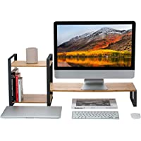 MK363 - Bamboo Monitor Laptop Stand with 2 Tier Storage (Black)