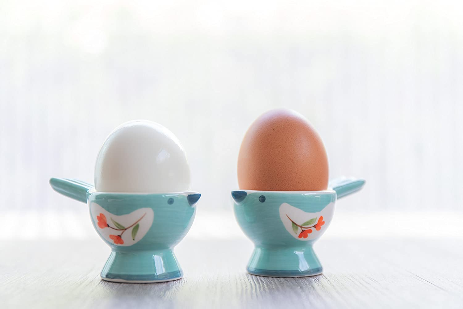 WD- FB38-2 Pcs Cute Bird Shape Ceramic soft or Hard boiled egg cup holder (Egg holder) - for Breakfast Brunch Soft Boiled Egg Holder Container Stand Set Sky color