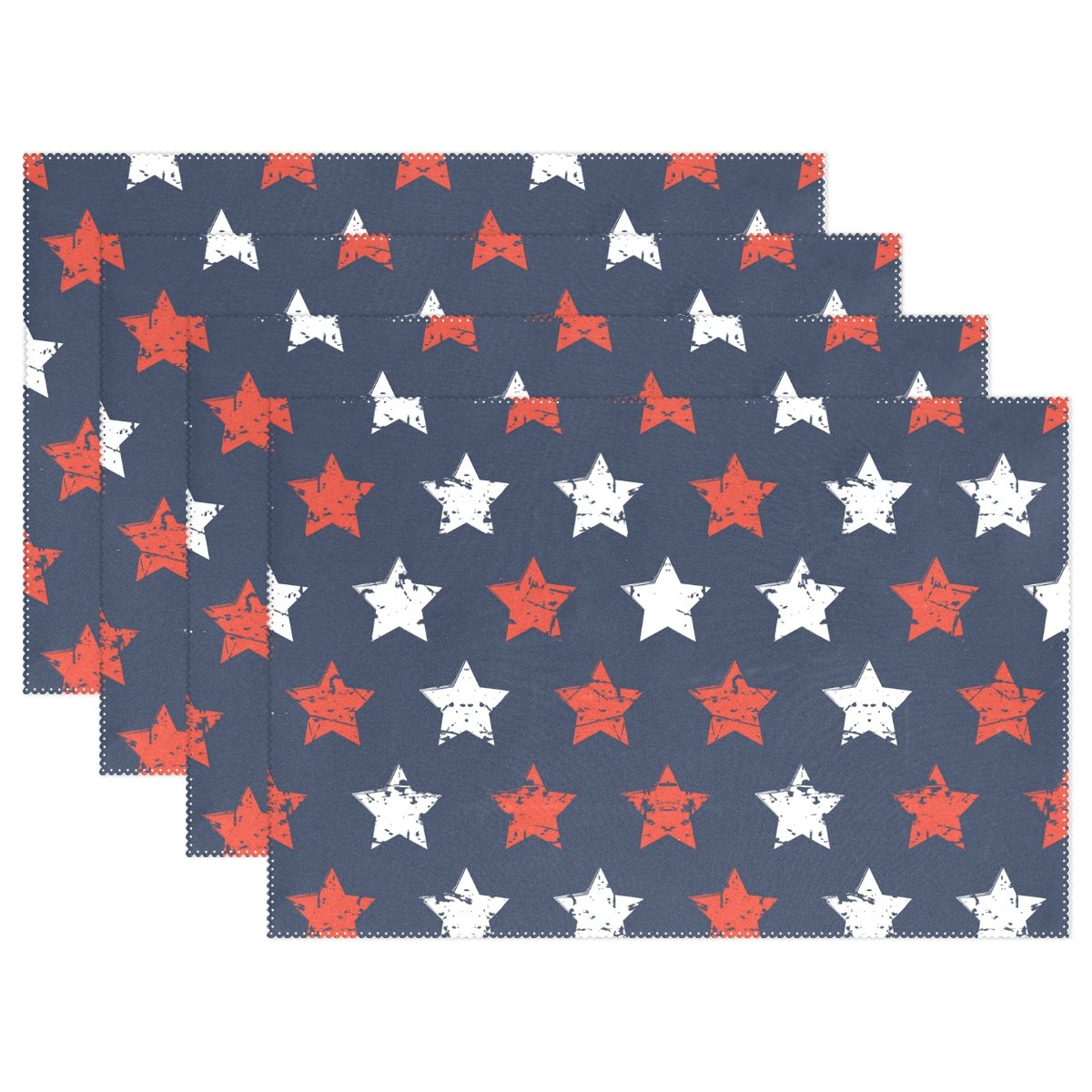American Flag 4th of July Stars Patriotic Heat-resistant Table Placemats Set of 6 Stain Resistant Table Mats Washable Eat Mat for Parties Everyday & Holidays Use