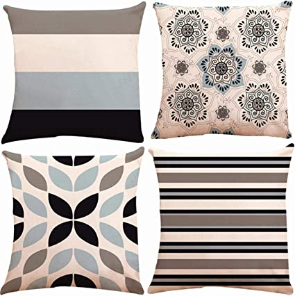 Munzong Geometric Throw Pillow Covers 18x18 Inch Double Sided Set Of 4 Cotton Linen Outdoor Cushion Cover Cases For Car Sofa Home Decor Navy Grey Floral Accent Pillow Mix Match Abstract Art
