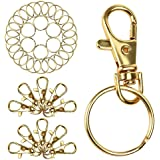 Coolrunner 25Pcs Swivel Clasps Lanyard Snap Hook Lobster Claw Clasp and 25Pcs Keychain Rings (Gold)