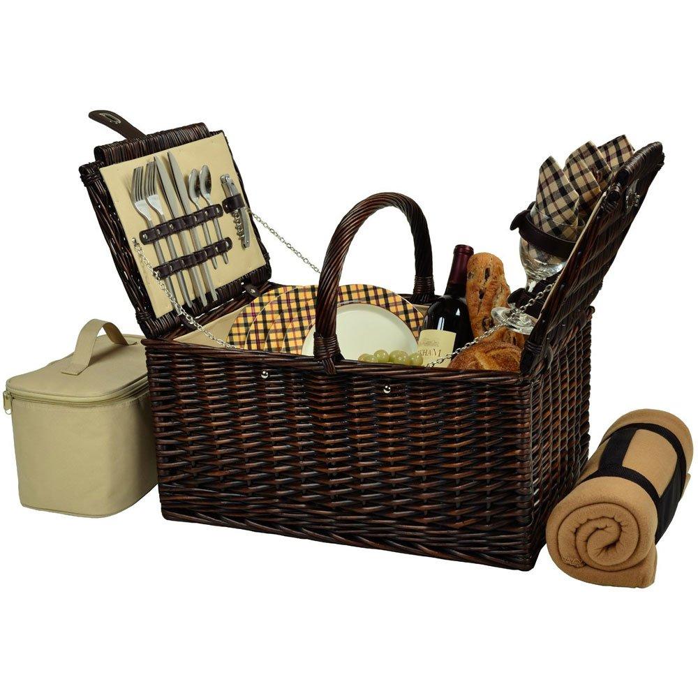MD Group Buckingham Picnic Basket - Service for Four, 20'' x 16'' x 13.5'' x 23 lbs, London Plaid
