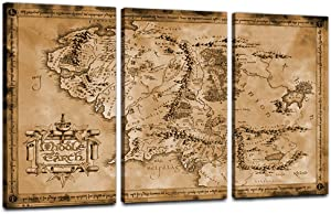 "Wall Art Decor The Hobbit/The Lord of The Rings - Movie Poster Print Map of Middle Earth 3 Panels Canvas Wall Art Posters HD Print Wall Decor Artwork Framed Hang Dark Sepia Edition(24"" Hx36 W)"