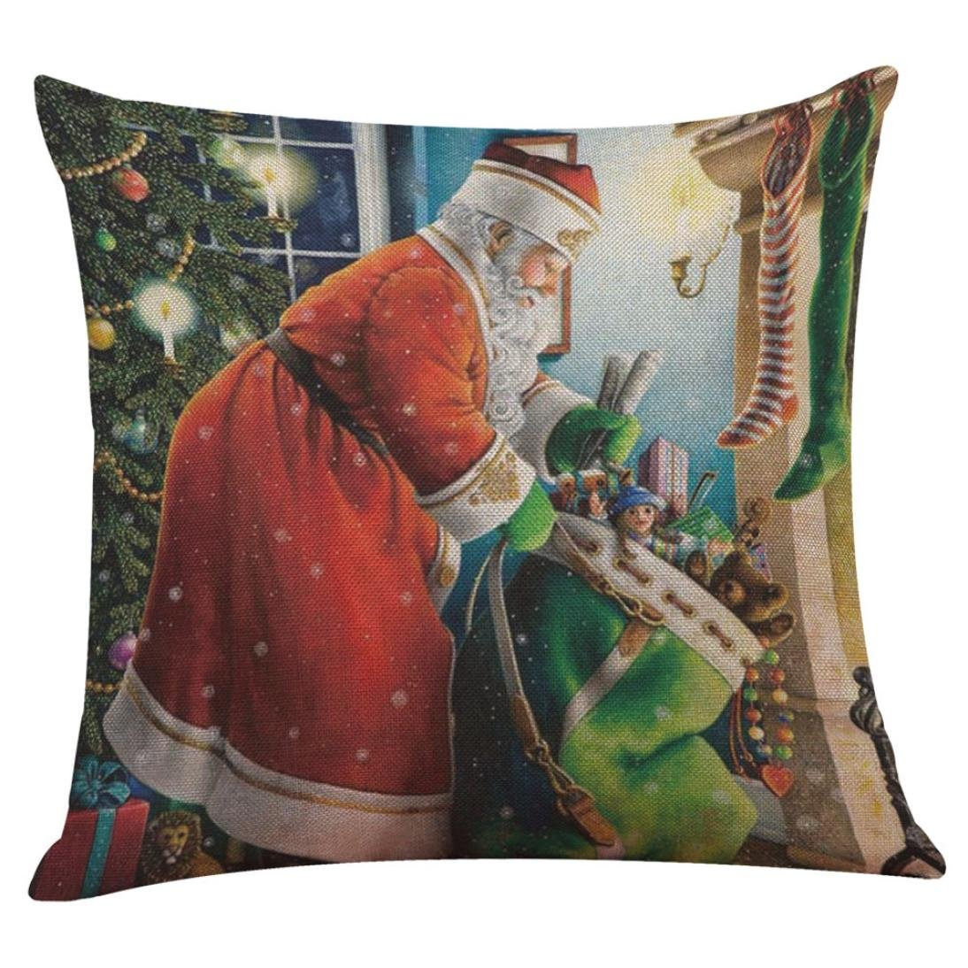 Wqueen Christmas Pillow CaseChristmas Linen Square Throw Flax Pillow- Case Decorative Cushion Pillow Cover (5H)