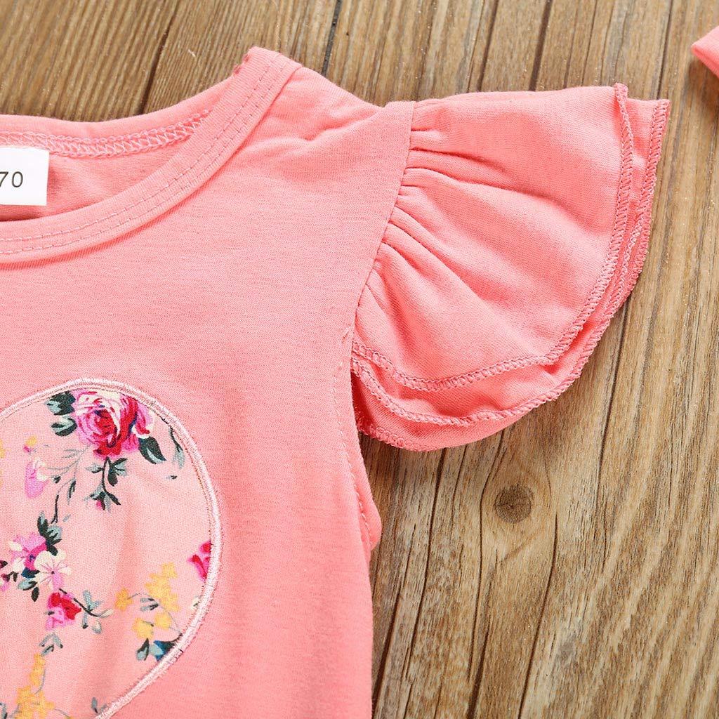 Blumen Hose Babykleidung M/ädchen Sommer,Covermason 3 PCs S/äugling Baby M/ädchen Strampler Fliegenh/ülle R/üschen Bodysuit Jumpsuit Stirnb/änder Outfit-Set