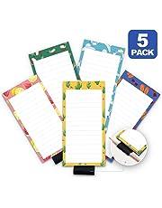 "5 Pack Magnetic Notepads for Fridge with Pen Holder, Full Magnet Back Notepad, To Do List, Grocery Shopping, Summer Theme, 6"" x 3"", 50 Sheets, Magnet Memo Pad for Fridge, Locker, File Cabinet, etc"