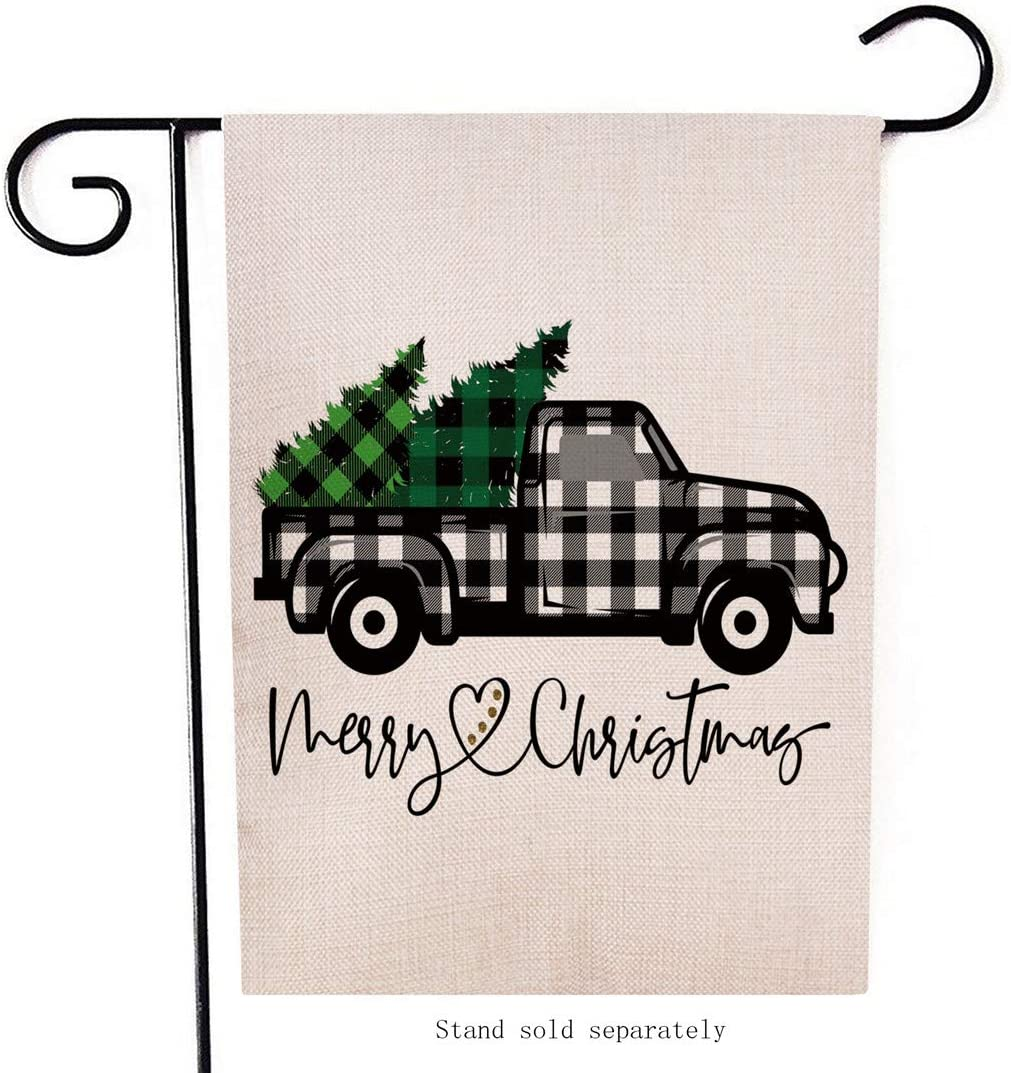 Artofy Merry Christmas Garden Flag, Decorative Xmas Outdoor Flag Sign Buffalo Check Plaid Truck Black White, Rustic Burlap House Yard Flag Winter Outside Decoration Holiday Home Decor Flag 12 x 18
