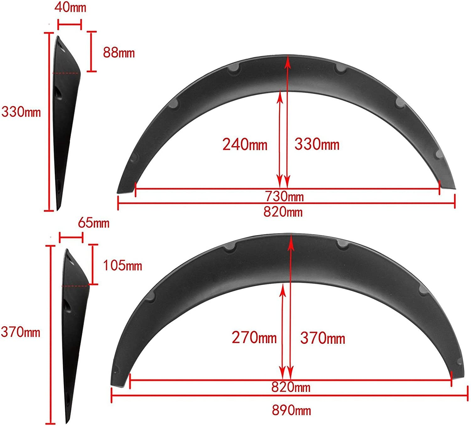 840mm Universal Flexible Car Fender Flares Extra Wide Body Wheel Arches Kit Pack of 4