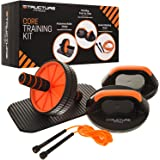 Structure Fitness ® Core Training Kit – Complete Home Fitness Training Gym Set Including Rotating Push Up Grips, Abdominal Ab Roller with Cushioned Padded Knee Pad and 3m Speed Skipping Rope – Enjoy a Total Whole Body Workout from Home