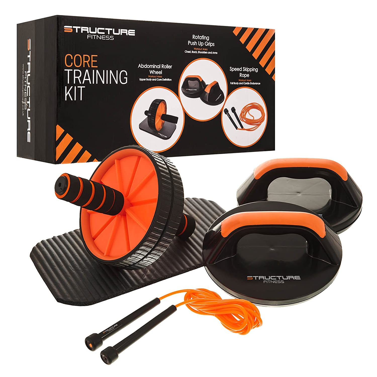 Sf Core Training Kit Home Fitness Gym Set Push Up Grips Abdominal Body Sculpture Skip Rope Ab Roller Cushioned Padded Knee Pad 3m Speed Skipping Sports