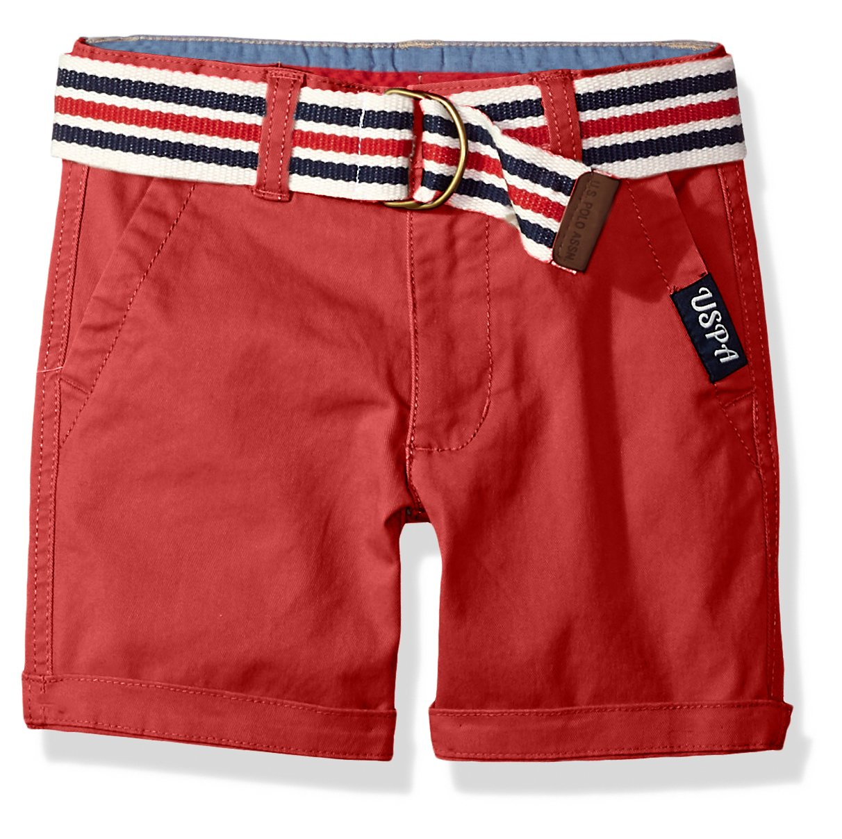 U.S. Polo Assn. Boys' Toddler Short, Large Roll up Cuff Nantucket red, 2T