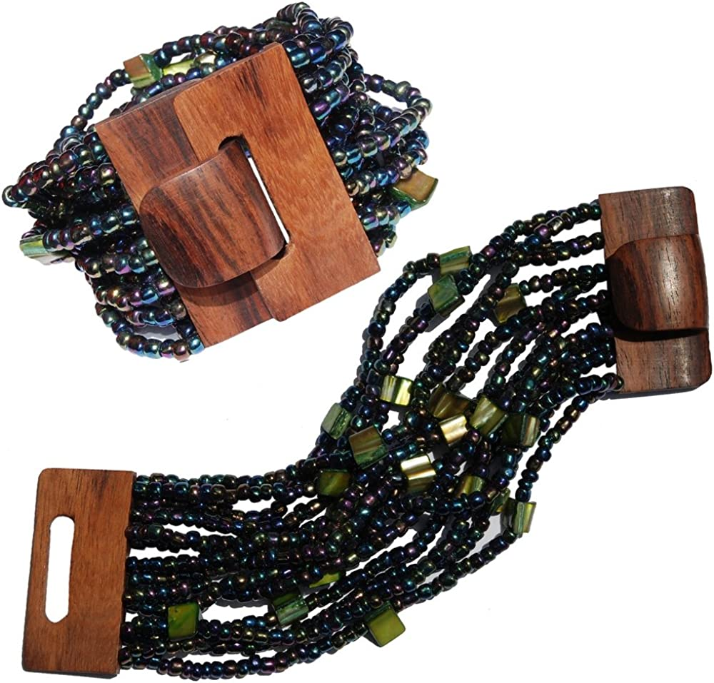 14 Elastic Strands with Shells Greenish Rainbow Bronze Beaded Bali Bracelet with Hard Wood Buckle Clasp
