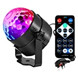 JOY VALLEY Disco Lights Disco Ball Party Light Sound Activated Party Lights with Remote Control 3W 7 Colors DJ Lighting RBG Disco Ball Lights for Christmas/Wedding/Home KTV /Bar /Club /Party with UK Plug