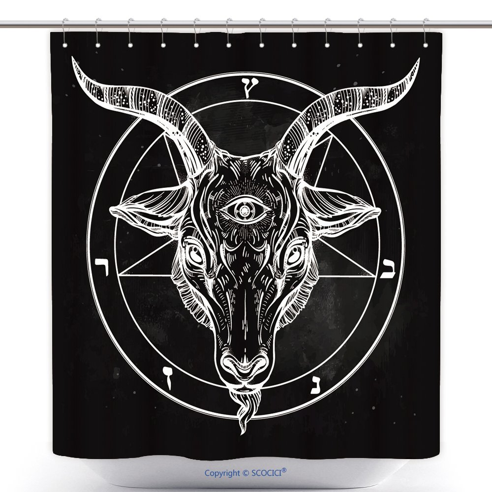 Amazon funky shower curtains pentagram with demon baphomet amazon funky shower curtains pentagram with demon baphomet satanic goat head with third eye binary satanic symbol vector 533043418 polyester bathroom buycottarizona Images
