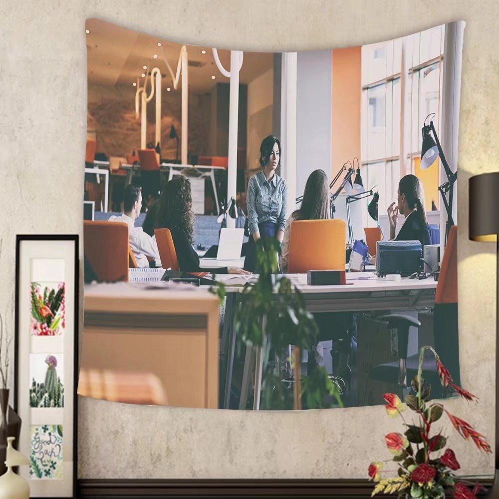 Madeleine Ellis Custom tapestry startup business people group working everyday job at modern office by Madeleine Ellis