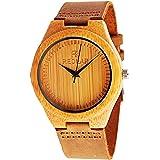 juhaich Holz Armbanduhr Bambus Holz Natur ECHT LEDER Gurt Holz Armbanduhr Japanisches Quarz-Uhrwerk für Damen & Herren