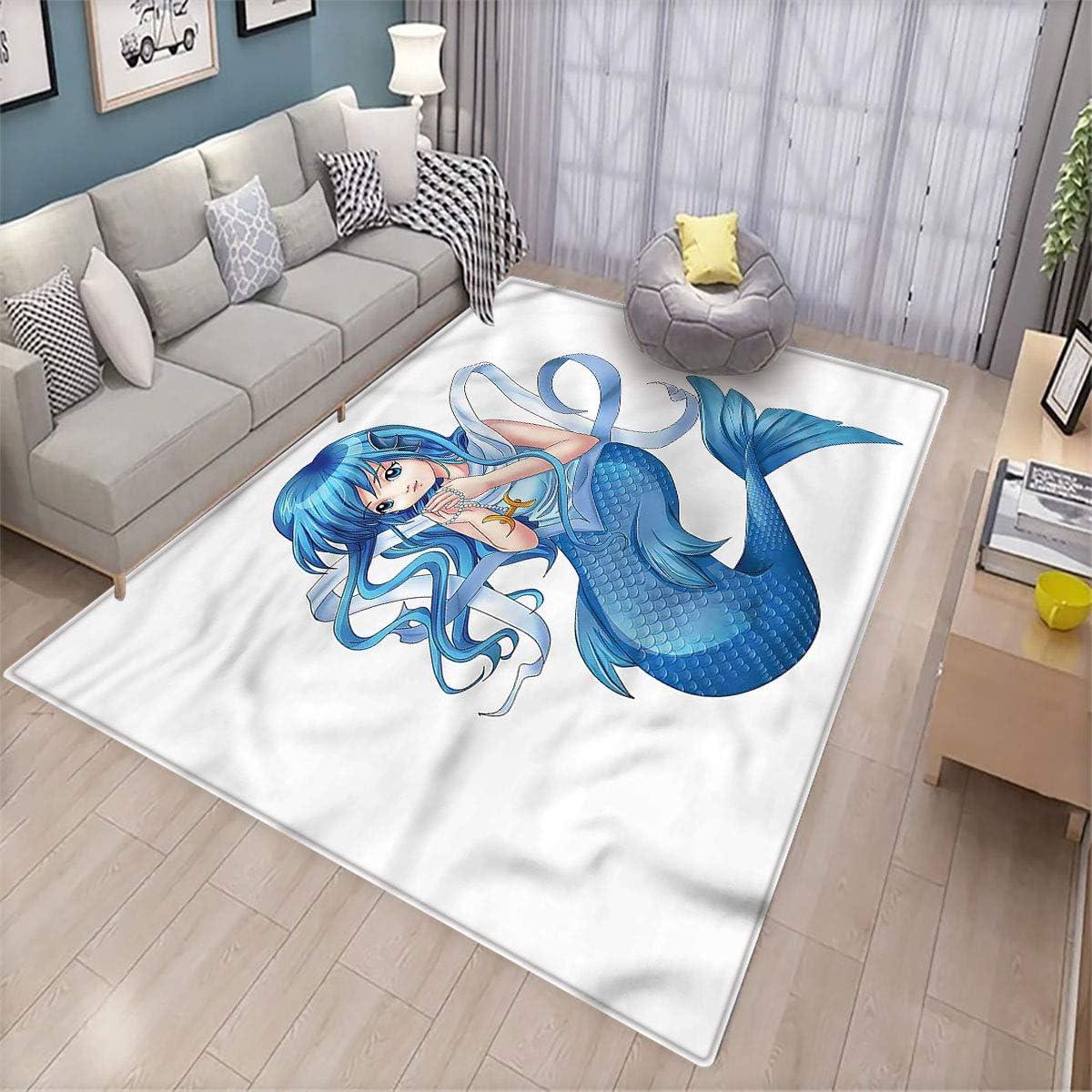 Anime Room Floor mat Manga Style Pisces Girl Patio Door Floor mat Non-Slip Decoration 6.6'x9'