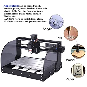 MYSWEETY DIY CNC 3018PRO-M 3 Axis CNC Router Kit with 3000mW 3W Module + PCB Milling, Wood Carving Engraving Machine with Offline Control Board + ER11 and 5mm Extension Rod (Tamaño: Large)