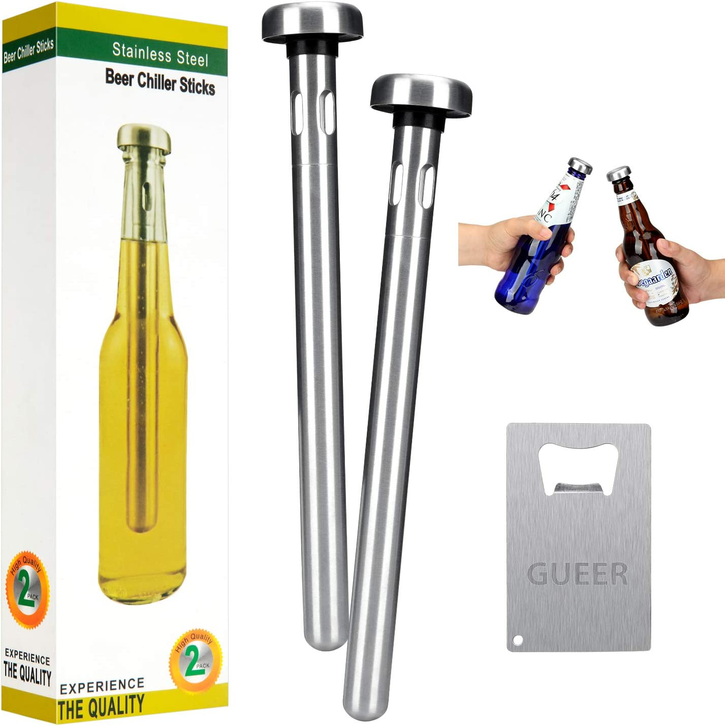 Beer Chiller Stick for Bottles, Premium Stainless Steel, Beer Gifts for Men, Unique, Cool, Set of 2, Beer Accessories Keep Bottled Drinks Cold, for Bar, Party, Camping and Family