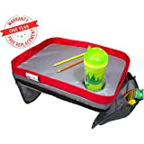 Kids & Toddler Car Seat Travel Play Lap Tray - Reinforced Solid Surface, Sturdy Side Walls, Strong Buckles, Mesh Pockets, Waterproof Snack, Play & Learn Tray (15-Inch-by-12-Inch)