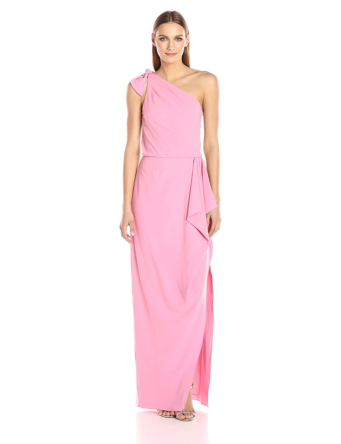 Halston Heritage Woman Cold-shoulder Stretch-crepe Gown Bright Pink Size 0 Halston Heritage 1Ij1B