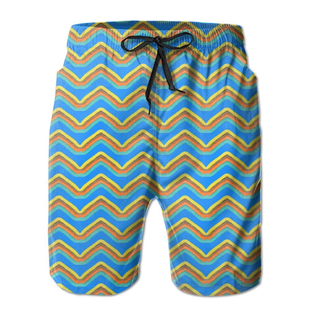 Newest - Mens Swim Summer Quick Dry Board Shorts - Four Color Wavy Lines