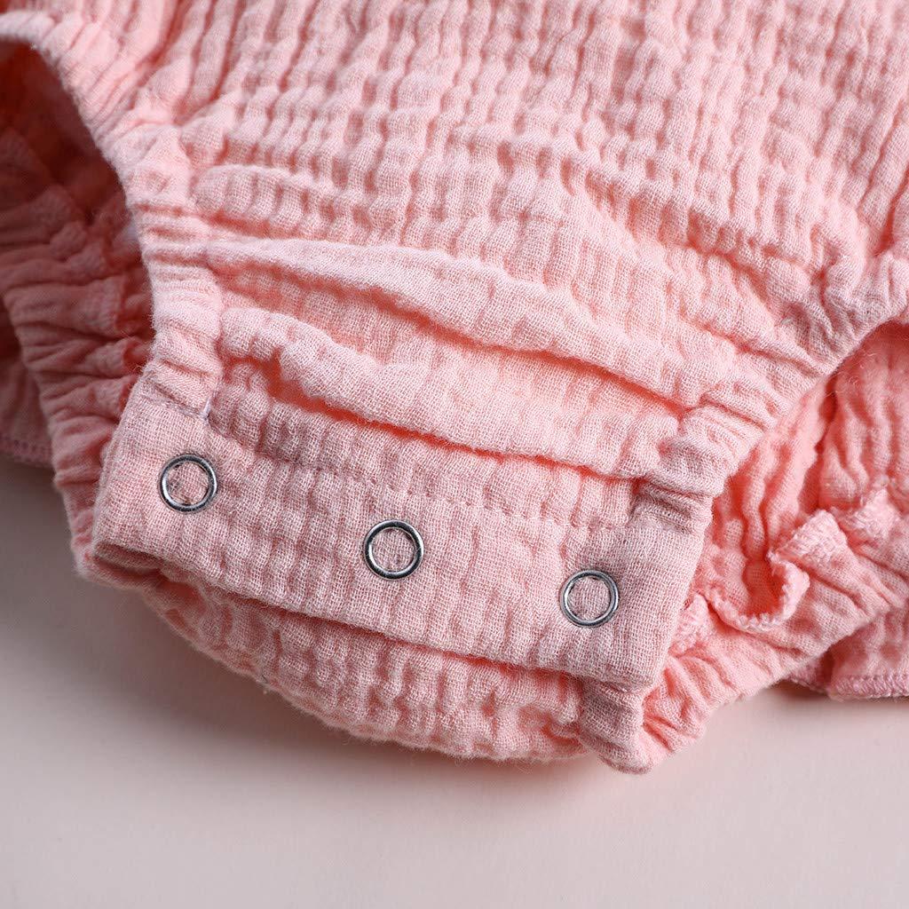 Anxinke Baby Girls Summer Ruffles Sleeveless Embroidery Rompers