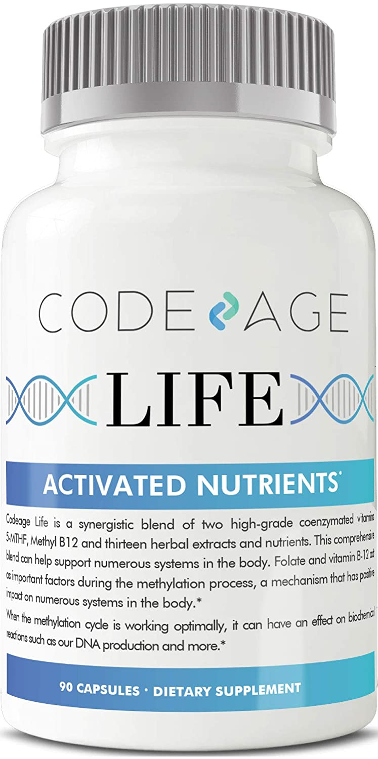 Codeage Life Telomere Supplements, 5 MTHF, Active Vitamin B9 Folate, Astragalus, DNA, Healthy Aging, Methylation, Multi Pathway, Non GMO, 90 Capsules