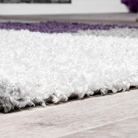 T&T Design Alfombra Moderna Pelo Largo Motivo De Cuadros Shaggy Borlas Lila Gris Crema, Größe:120x170 cm