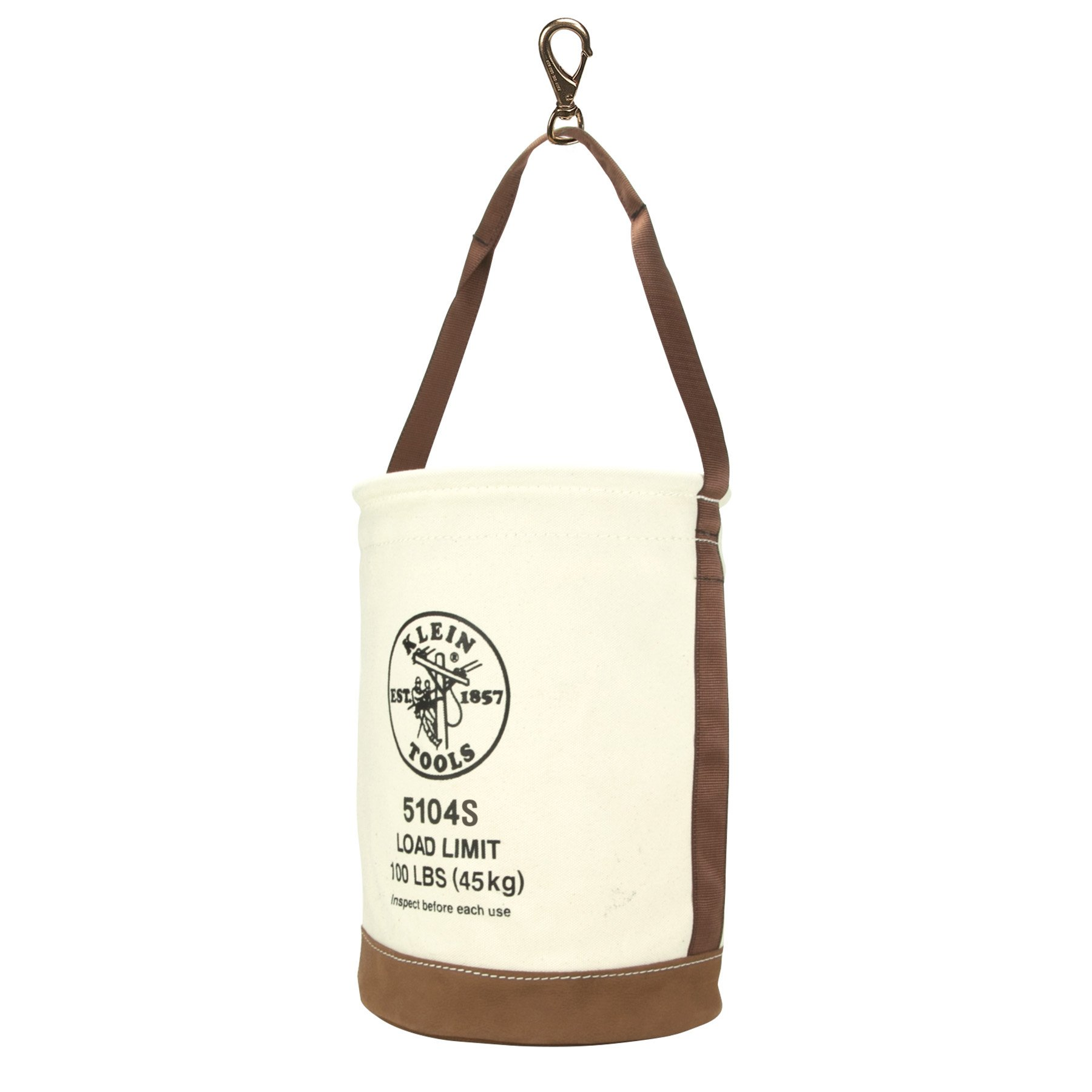 Tool Bucket, No. 4 Canvas and Leather Bottom, with Swivel Snap Hook Klein Tools 5104S