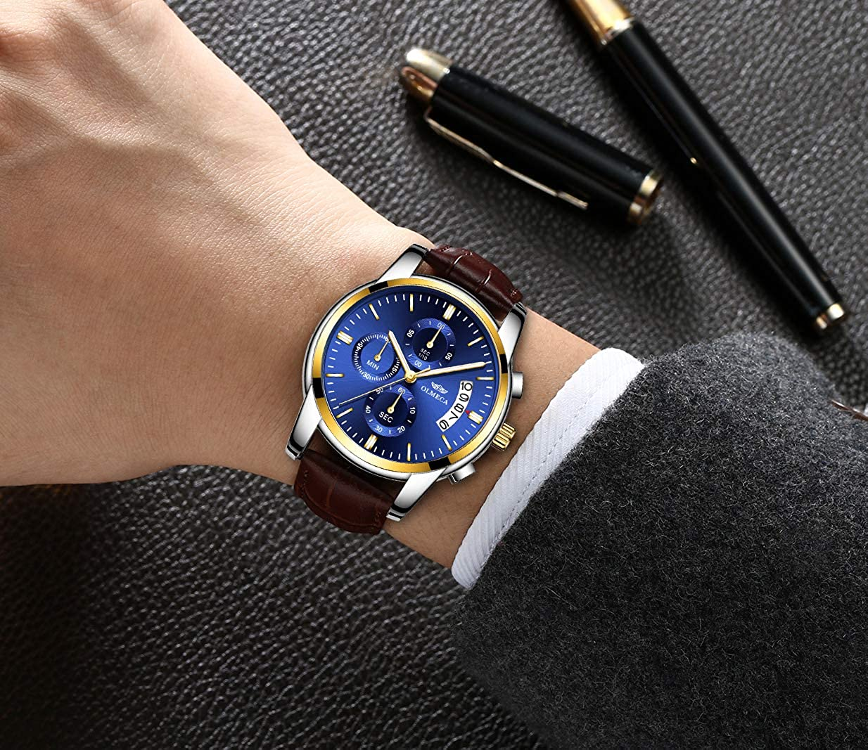 Amazon.com: OLMECA Mens Watches Luxury Business Wristwatches Waterproof Fashion Quartz Watches Blue Dial Leather Watch: Watches