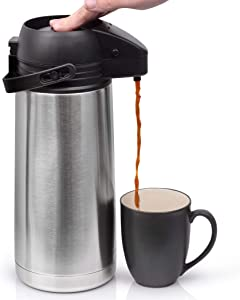 64 Oz (1.9 Liter) Airpot Coffee Dispenser with Easy Push Button | BPA-Free Stainless Steel Carafe | Double-Wall Vacuum Insulated Thermos | Effectively Keeps Beverages Hot or Cold