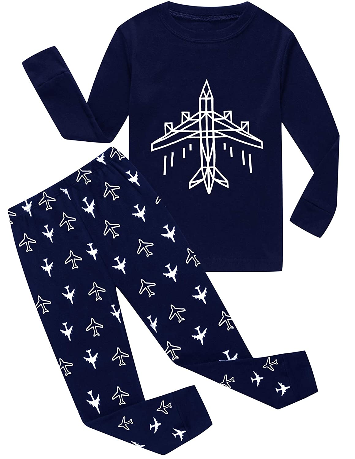 Little Pajamas Boys PJS Airplane Toddler Clothes 100% Cotton Kids Sleepwear Set 66Plane