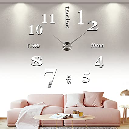 Yesurprise 3d frameless large wall clock modern mute mirror surface diy room home office decorations