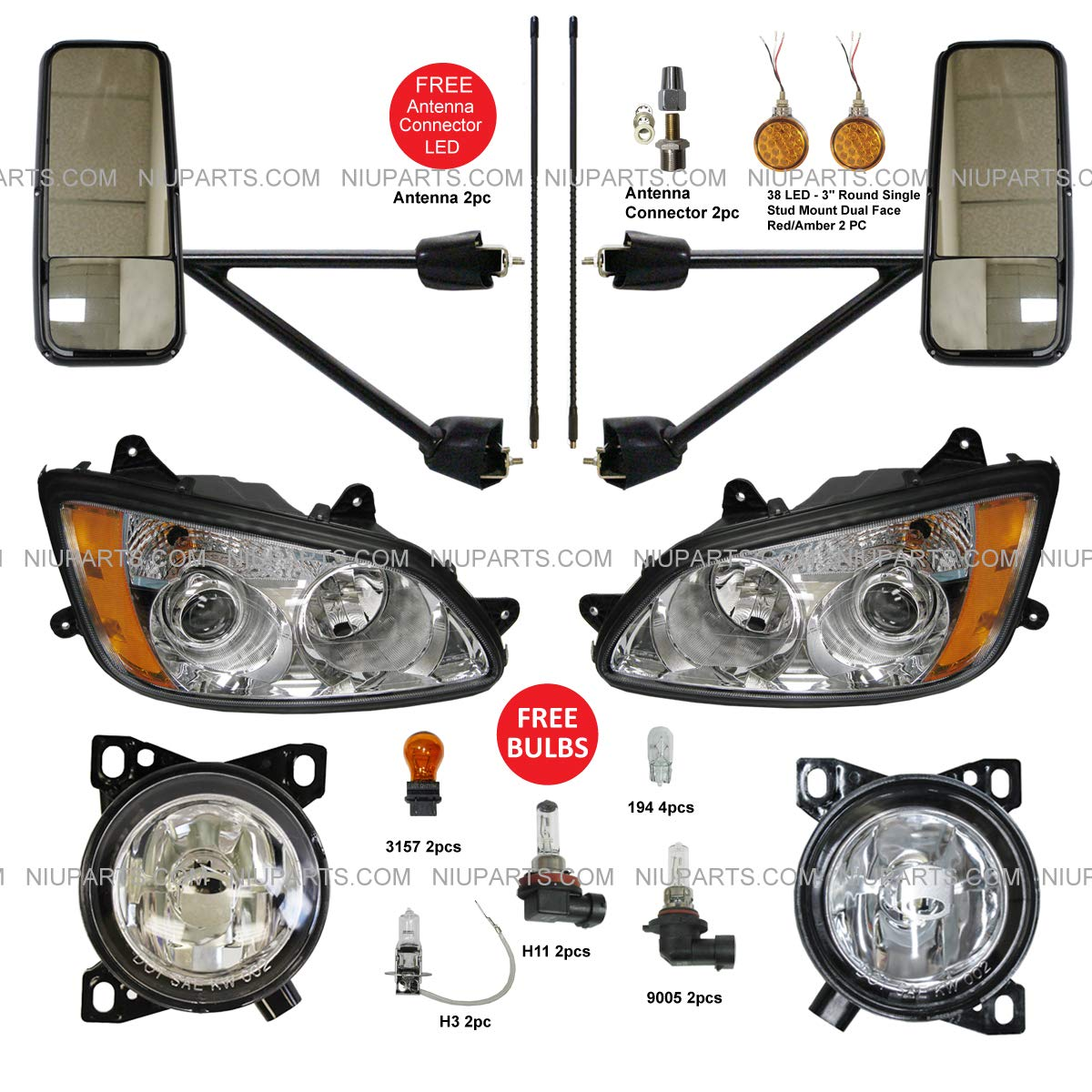 DOT Approved 4 x 6 Headlight OEM Replacement Rectagular Sealed Beam Assemblies H4651 H4656 12-24V Fits For Freightliner Semi Peterbilt 379 Chevy C10 S10 Blazer RV KW Kenworth T600 W900B Truck 2 pcs