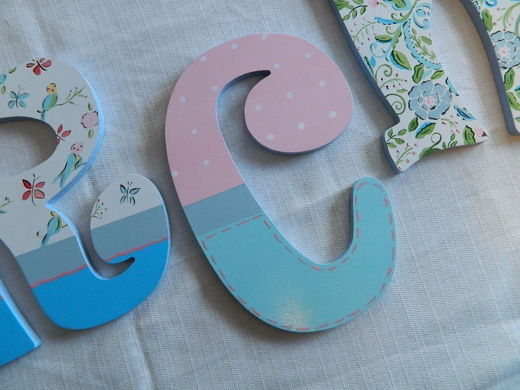 Amazoncom Hand Painted Wooden Letters Paisley Floral Theme 9