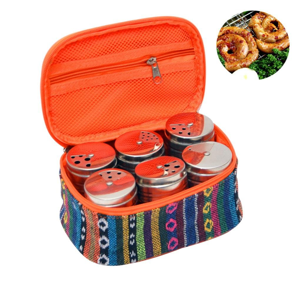 Aolvo Farmhouse Spice Jars, Set of 6 Multi Spice Bottles Stainless Steel Adjustable Commercial Spice Jars with Portable Carrying Bag, Refillable Tin Camping Spice Jars for Camping Travelling BBQ