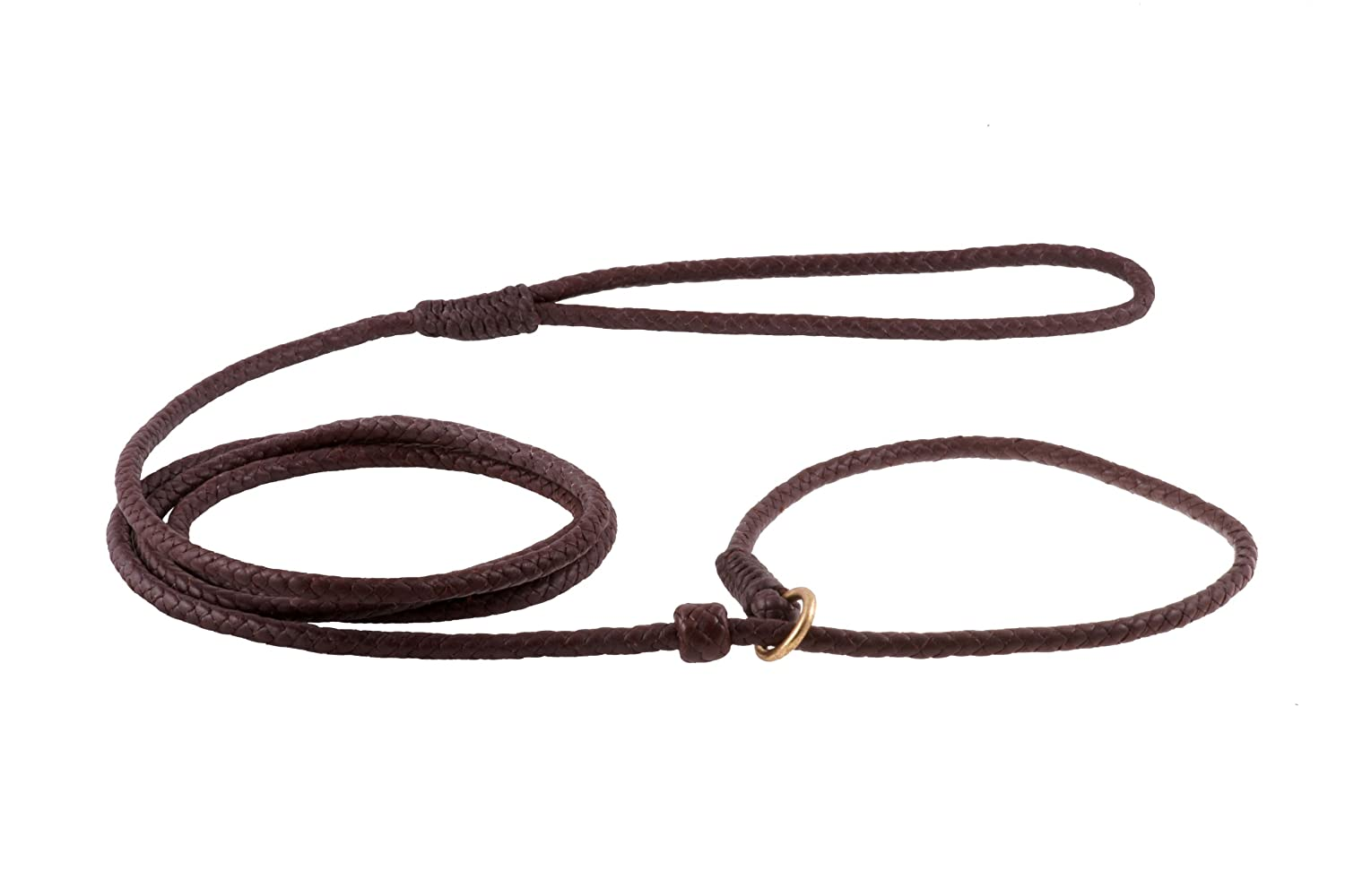 Brown Alvalley Braided Slip Lead with Stop for Dogs 6ft Medium
