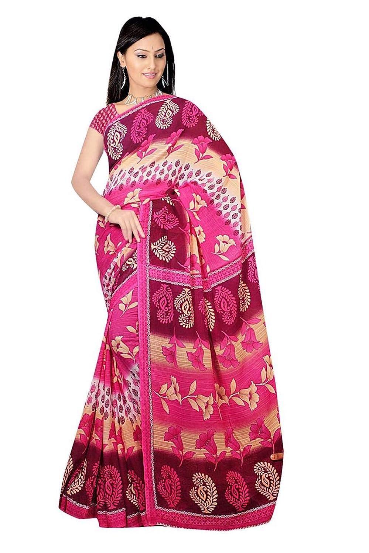 Trendofindia Bollywood Sari Kleid Chiffon Flower Pink Fo401