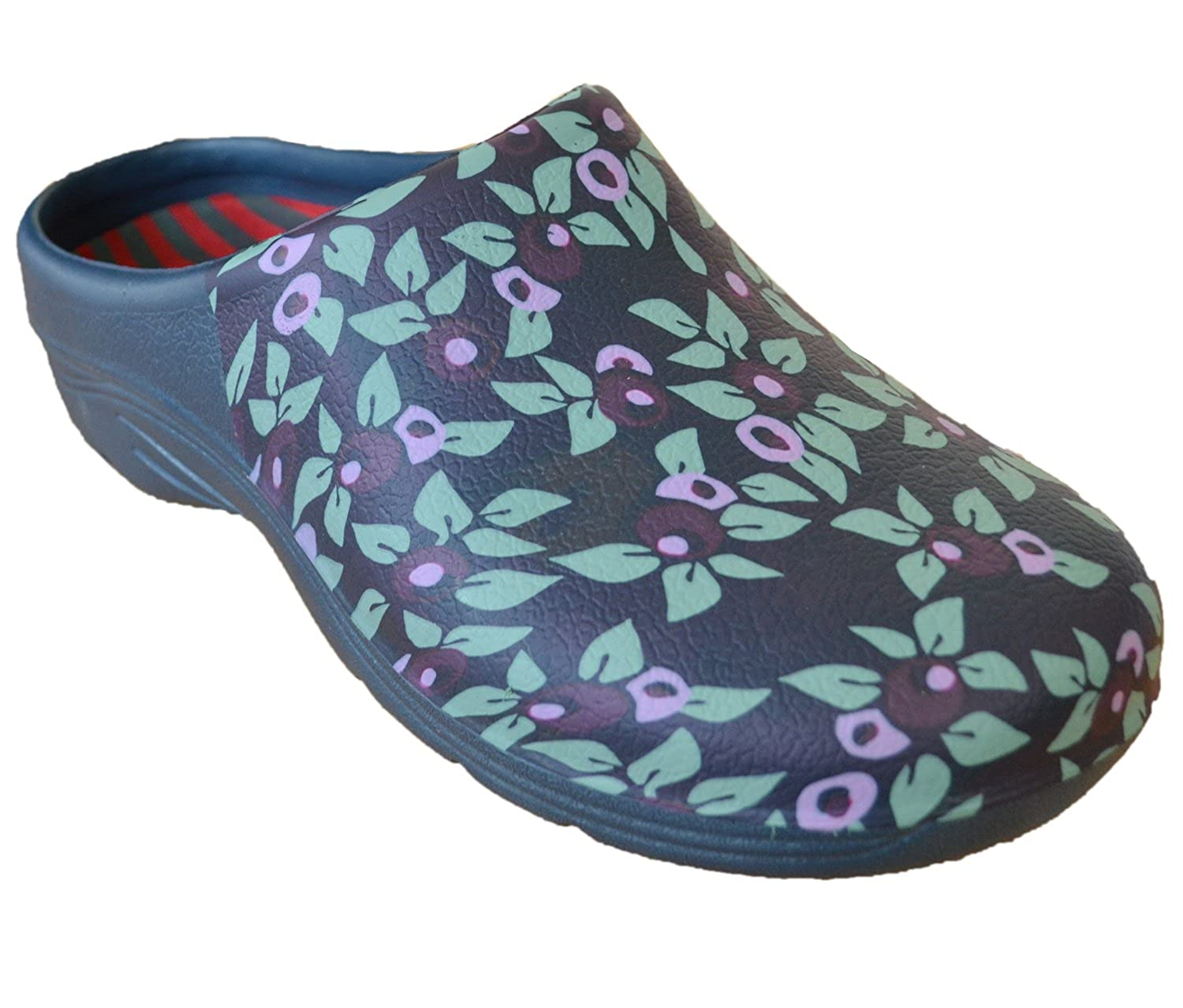 5c64b3fd57cf Womens Ladies Footwear Gardening Clogs Green Plum Floral Print With Open  Back  Amazon.co.uk  Shoes   Bags