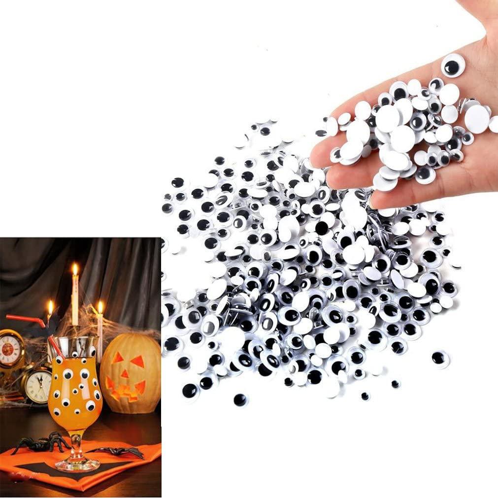 500 Pcs Decorations Wiggle Googly Eyes,ZYooh 6mm 12mm Mixed Self Adhesive DIY Scrapbooking Crafts Toy Accessories Set