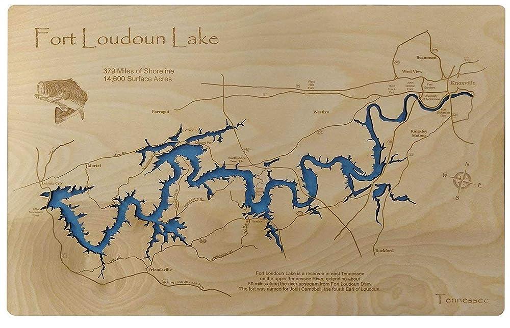 fort loudoun lake map Amazon Com Fort Loudoun Lake Tennessee Standout Wood Map Wall fort loudoun lake map