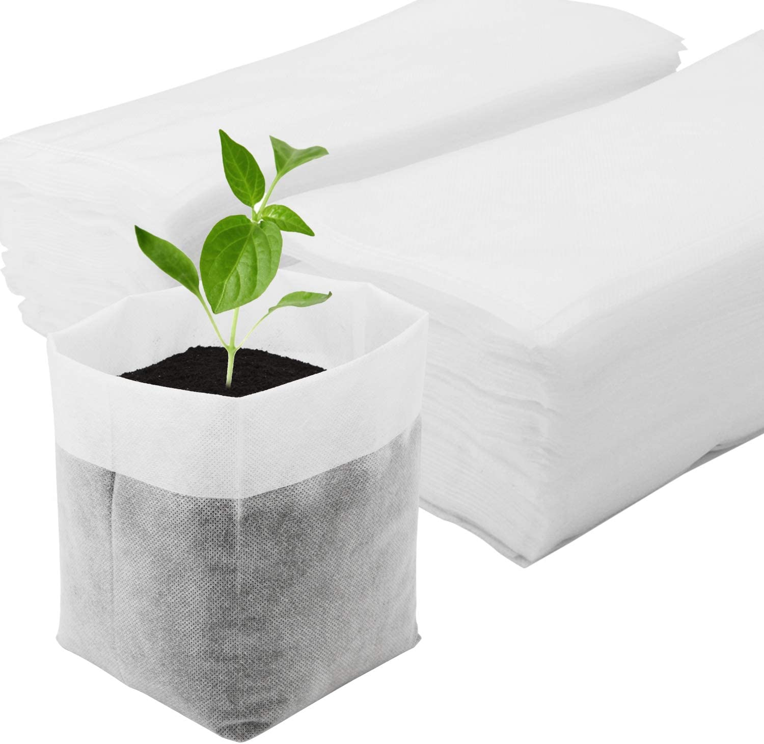 Nursing Growing Pouch, Enpoint 100pcs 11 x 11.8 in Plant Non-Woven Nursery Bags Plant Grow Bags Fabric Seedling Pots Home Garden Supply for High Seedling Survival Rate Planting Growing