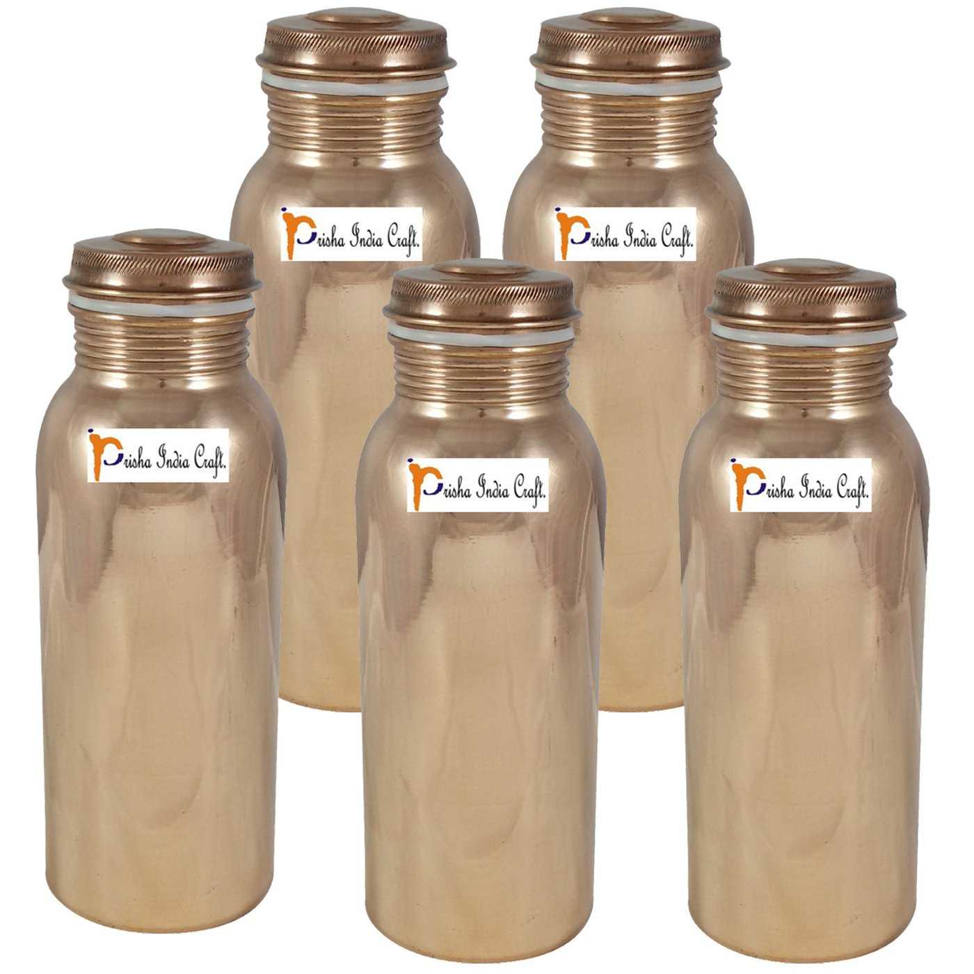700ml / 23.67oz - Set of 5 - Prisha India Craft ® Pure Copper Water Bottle for Health Benefits - Handmade Water Bottles - Christmas Gift