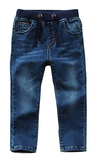 038786eb Toddler Kid Boy Elastic Mid Waist Washed Full Length Straight Pants Denim  Jeans(D,