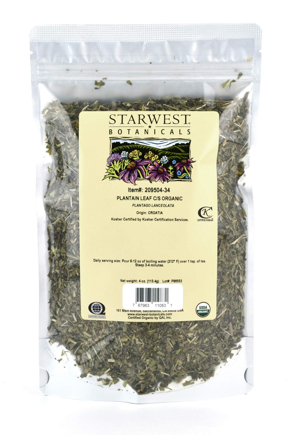 Starwest Botanicals Organic Plantain Leaf Cut Sifted, 4 Ounces