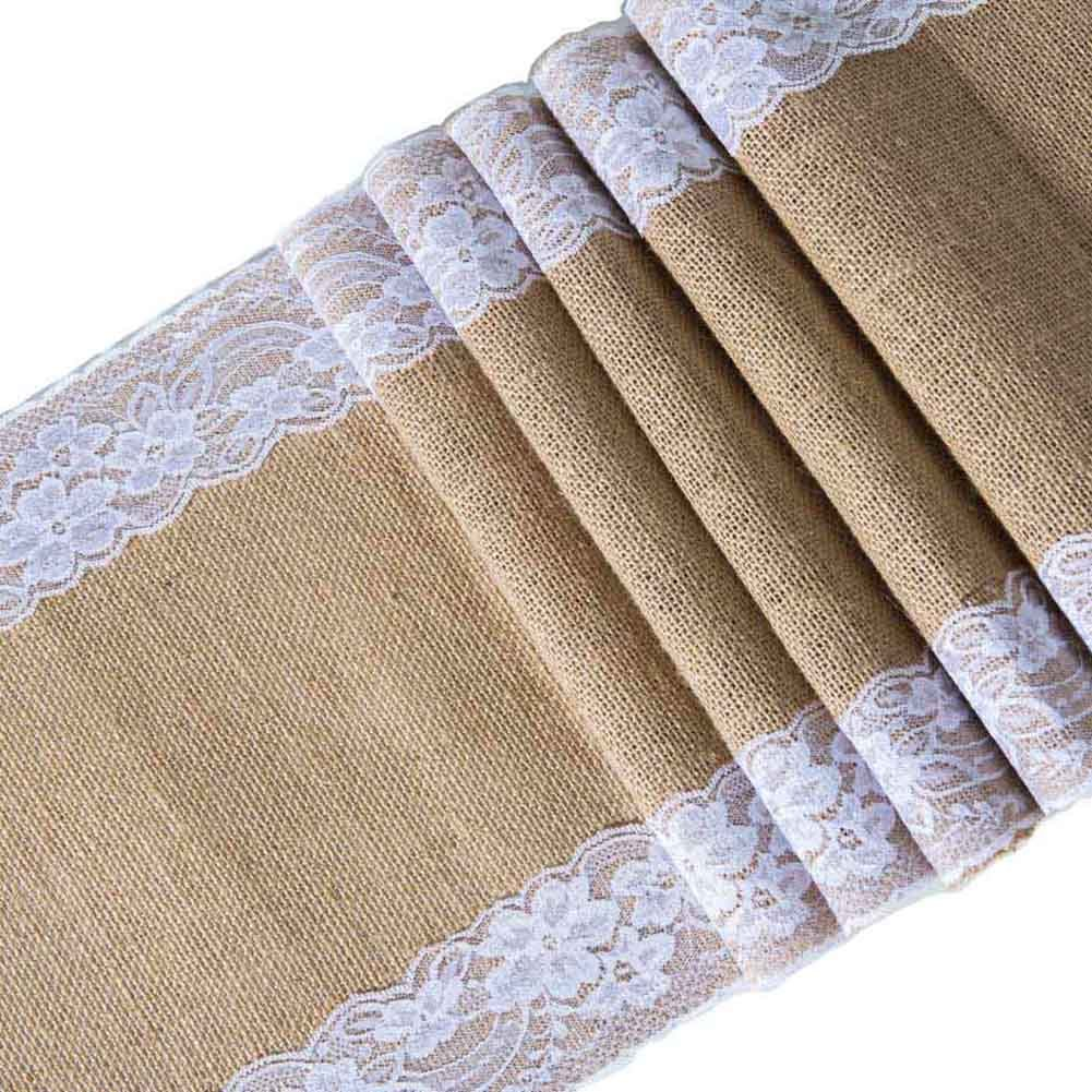 ARKSU Burlap Table Runner with White Lace Trim, 12 by 72 inch No-fray Jute Hessian Vintage Rustic Natural Wedding Christmas Country OutdoorDecor H3-72-1