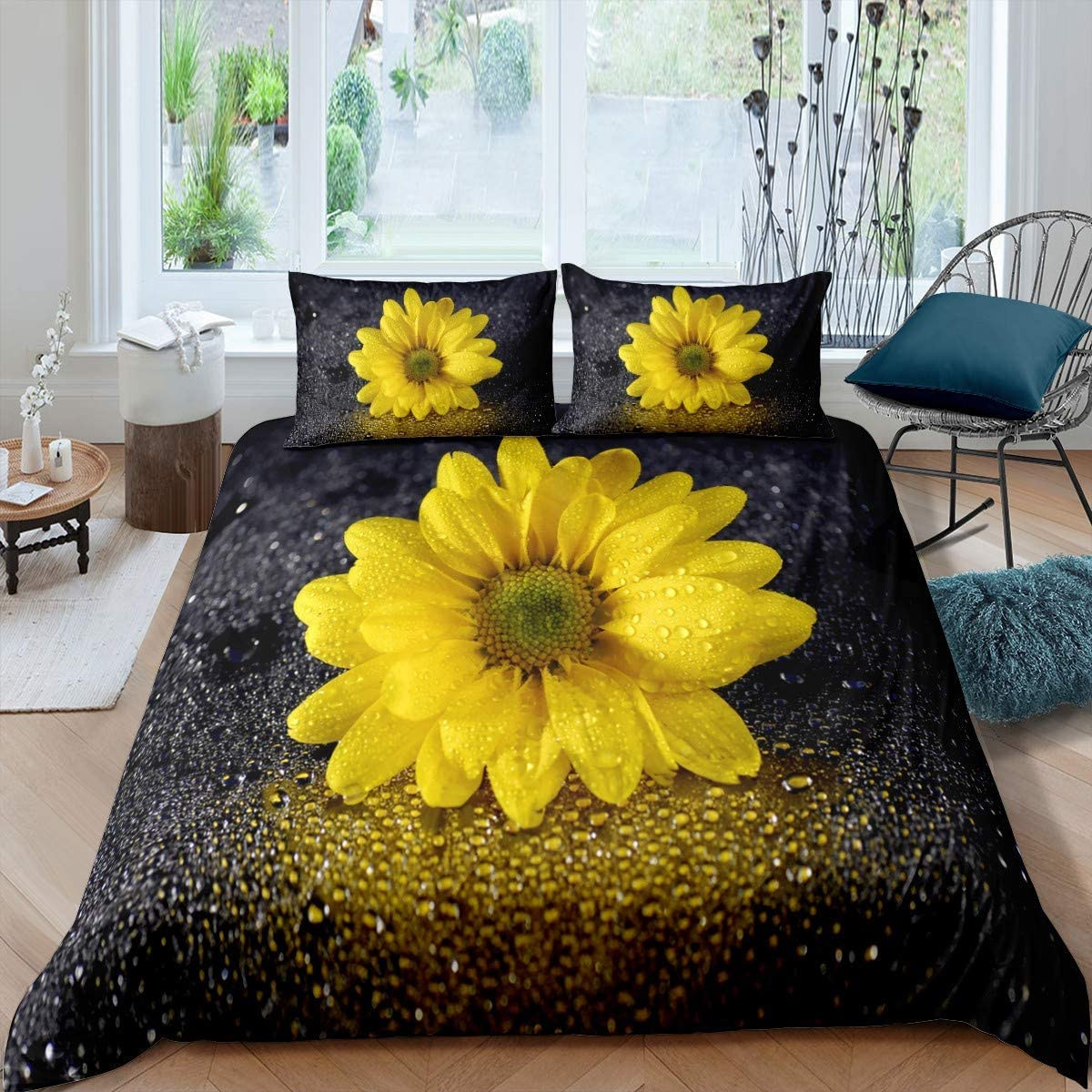 Yellow Floral Duvet Cover Full 3D Sunflower Bedding Set Summer Colorful Nature Art Print Comforter Cover, Countryside Garden Style Decor Quilt Set Modern Style for Women Kids Girls with Zipper&Ties