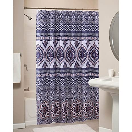 grey and orange shower curtain. Boho Chic Moroccan Paisley Pattern Grey Orange Fabric Shower Curtain Amazon Com